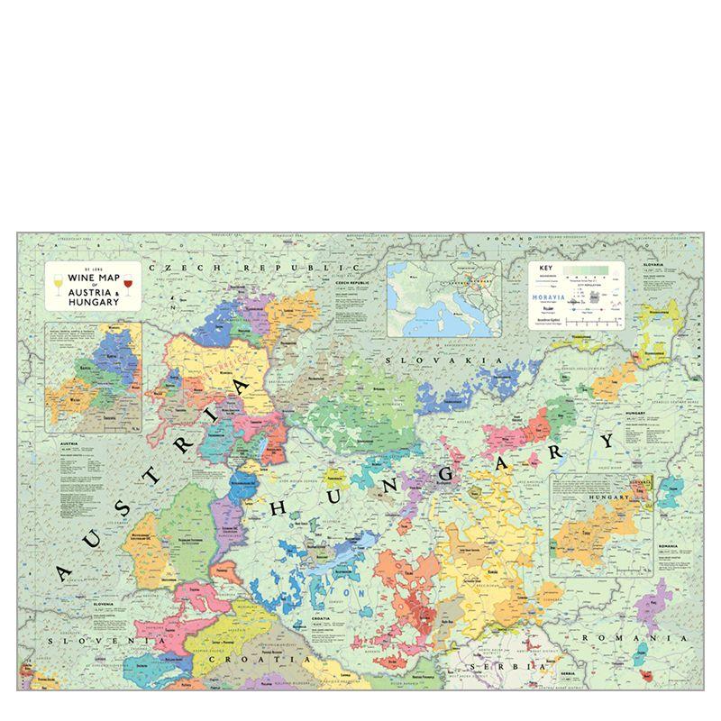 De Long Wine Map of Austria & Hungary