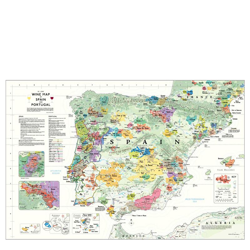 De Long Wine Map of the Iberian Peninsula – Spain and Portugal