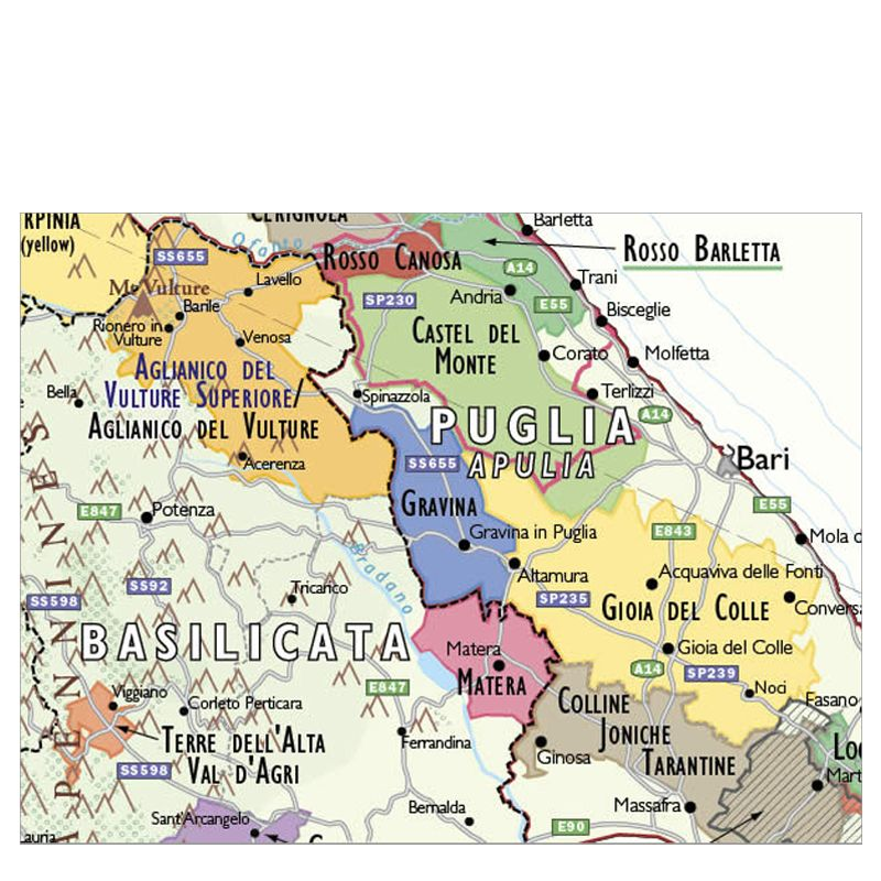 De Long Wine Map of Italy