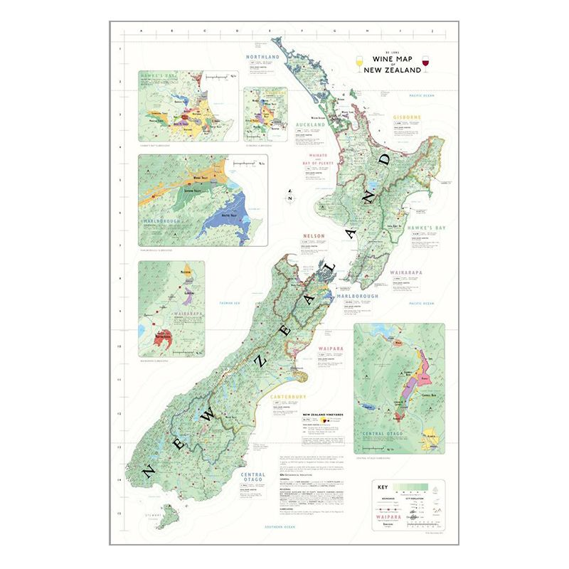 De Long Wine Map of New Zealand
