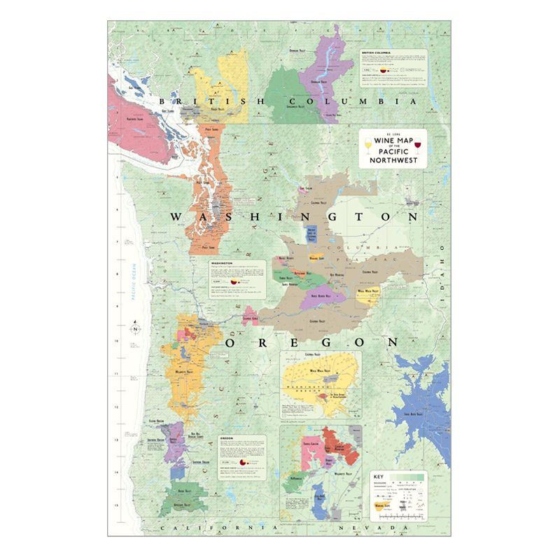 De Long Wine Map of the Pacific Northwest