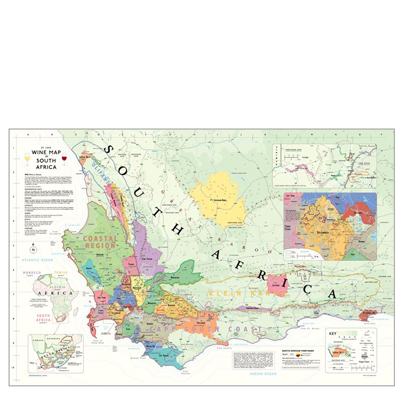 De Long Wine Map of South Africa